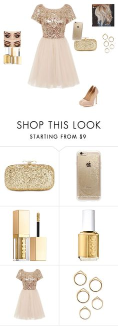 """Gold Set!"" by princessboogs ❤ liked on Polyvore featuring INC International Concepts, Rifle Paper Co, Stila, Essie and Chi Chi"
