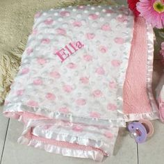 Embroidered Pink Baby Blanket #Christmas #PersonalizedGifts #ChristmasGift #GiftsForYouNow #Gifts #Holiday #BabyGifts