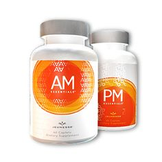 AM PM Essentials based on right technology, released at the right time.  These unique dietary supplements slow the symptoms of premature aging. Potent vitamins and minerals target DNA and delay telomere deterioration. AM Essentials™ supplements release energy-enhancing nutrients that bring mental clarity and focus. The PM Essentials™ formula balances systems for a restful sleep. SIZE 60 caplets per bottle, 1 month supply newlead.jeunesseglobal.com