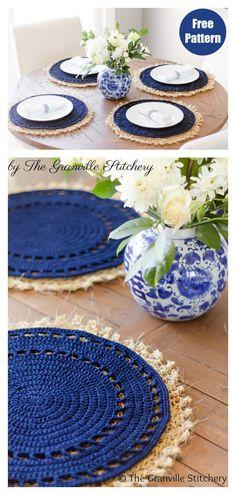 Crochet Placemat Patterns, Crochet Mandala Pattern, Crochet Dishcloths, Crochet Doilies, Cotton Crochet Patterns, Crochet Diy, Crochet Home Decor, Crochet Gifts, Crochet Decoration