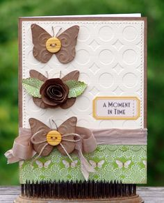 The Kraft Journal...Buttons and Bows Card...with embossed butterflies & buttons... audreypettit.