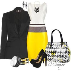 """Elegant Houndstooth"" by ccroquer on Polyvore"