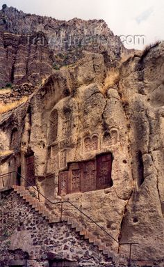 carved on the cliffs of the Azat river gorge  Armenia