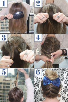 Reverse French Braid Bun How To - Braided Bun Bow Hairstyle Tutorial