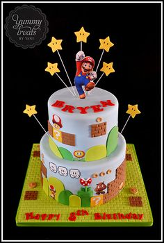 Mario Cake with stars from top.