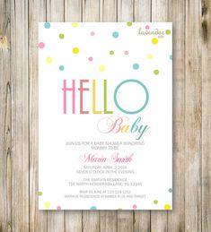 RAINBOW BABY SHOWER Invitation, Hello Baby, Rainbow Baby Shower Invite, Neutral Baby Sprinkle, Colourful, Twins Boy Girl, Printable Digital
