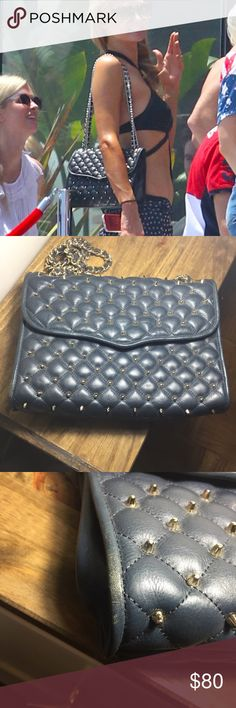 Rebecca Minkoff Quilted stuffed Affair Bag Used , in good condition : gold studs . Some discoloration on the curb links. Color: blue. Please view pics , if you have any questions please ask. Rebecca Minkoff Bags