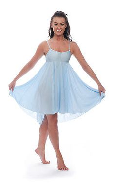 Ladies Girls Pale Blue Lyrical Dress Contemporary Ballet Dance Costume By Katz