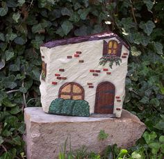 Hand Painted Rock - French Country House by WytcheHazel, via Flickr