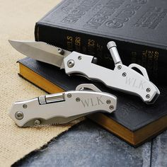 Pocket Knife with Light.  Perfect for my Husband, or even a gift idea for his friends birthdays or bachelor gifts.    www.tradingvows.com