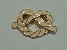 White enamel pretzel brooch, vintage gold tone love knot scarf pin, Gift for her, retro scarf pin, vintage jewelry, Gingerslittlegems by GingersLittleGems on Etsy