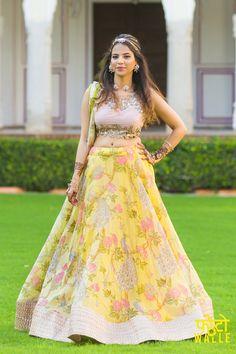 Light Lehengas - Yellow and Pink Floral Light Lehenga   WedMeGood   Yellow Cotton Lehenga with a Cutwork Beige Blouse and Yellow Dupatta #wedmegood #Indianwedding #indianbride #yellow #floral #lehenga