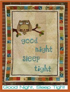 """Deze """"Good Night Sleep Tight"""" quilt is gewoon perfect om onder te kruipen voor een goede nachtrust. De slaperige Uil ontwerp is gewoon prachtig.  Maat: 125 cm x 170 cm"""