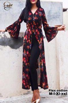 Buy Powder Blue Floral Printed Crepe Front Slit Kurti Online in India Simple Kurta Designs, Kurti Neck Designs, Kurta Designs Women, Kurti Designs Party Wear, Stylish Dress Designs, Designs For Dresses, Blouse Designs, Latest Kurti Designs, Stylish Kurtis Design