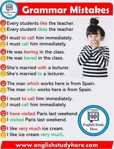 8 Most Common Grammatical Errors We All Need to Stop Making - English Study Here English Grammar Rules, Teaching English Grammar, English Grammar Worksheets, English Writing Skills, English Vocabulary Words, English Language Learning, Grammar Tenses, German Language, French Language