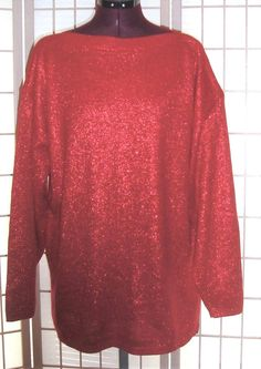 Bedford Fair Sz L Red Metallic Shimmer Holiday Bateau Neck Knit Pullover Sweater #BedfordFair #KnitTopPulloverSweater #HolidayCasual