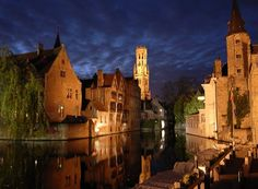 Old houses and beffroi reflected in canal at night. Bruges, Belgium,Part of gallery of color pictures of Europe by professional photographer QT Luong, available as prints or for licensing. Oh The Places You'll Go, Places To Travel, Places To Visit, Amsterdam, Belgium Europe, Dslr Photography Tips, Digital Photography, Adventure Travel, Beautiful Places