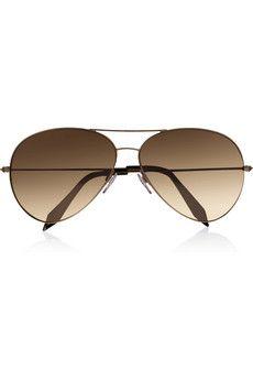 Victoria Beckham Aviator-style 18-karat rose gold-plated sunglasses | NET-A-PORTER