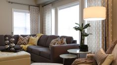 The combination of grey geometric drapes and yellow accents make this family friendly space pop! Available through Endless Ideas Interiors in Brooklin, ON, CANADA