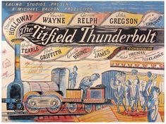 Poster for the Ealing film, The Titfeld Thunderbolt, 1953, Edward Bawden