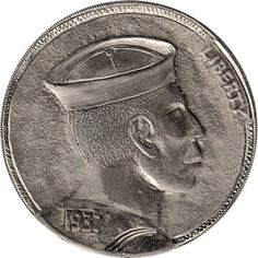 The Original Hobo Nickel Society Hobo Nickel, Coin Art, Antique Coins, Sailors, Pirates, Jewelry Collection, Buffalo, Classic Style, Cactus