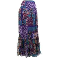 BLUMARINE Chiffon Marrakesh Maxi Skirt ($460) ❤ liked on Polyvore featuring skirts, long skirts, bottoms, faldas, gypsy, patterned maxi skirt, layered maxi skirt, tiered skirt, floor length skirts and tiered maxi skirt