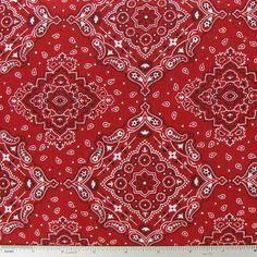 Red Large Bandana Cotton Calico Fabric