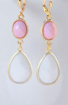 Pink and White Bridesmaids Earrings