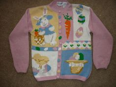 Alexandra Bartlett Easter Themed Spring Cardigan Ladies Sweater Bunny Basket M | eBay $39