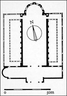 EARLY CHRISTIAN ARCHITECTURE- Plan of Basilica Constantine, Trier, Germany, AD 310. The plan of the Basilica is not based on a Roman basilica, because the Basilica of Constantine has a transverse vestibule (narthex) and there is no column inside the cella. This feature is used later in church architecture, for example in the design of s. Peter's in Rome which was built by Constantine some years later.