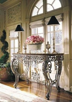 Suntuo Iron Console Table, Iron Table, Colorful Furniture, Home Decor Furniture, Interior Design Boards, Aesthetic Rooms, Iron Art, Iron Decor, French Decor
