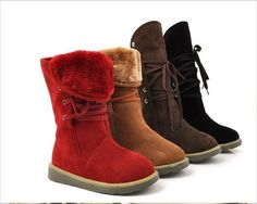 Big size 36-43 High quality Fashion Women Fur Boots Lace up Snow Boots keep warm Winter Shoes drop shipping wholesale price