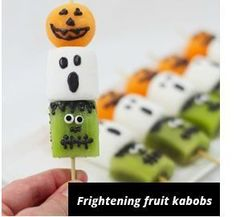 Halloween kabobs: melon, marshmallow & kiwi:  http://www.sheknows.com/food-and-recipes/articles/1016241/frightful-fruit-kebabs