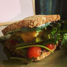 Ezekiel Bread, Baby Kale, Spinach, and Grape Tomato - Veggie Sandwich Magic!