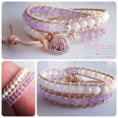"""BellaLaci """"Pure Pastel"""" Double Leather Wrap Bracelet in Lavender 💕. Boho Jewelry, Jewellery, Stamped Jewelry, Bangles, Bracelets, Lavender, Pastel, Pure Products, Leather"""