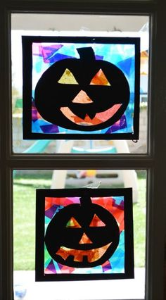 Pumpkin Silhouettes. Halloween craft for kids. maybe better with pumpkin shape cut out of black paper then stick on orange tissue paper then black trianges
