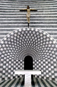 Altar of the Church designed by the swiss architect Mario Botta in Mogno.