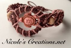 Hippy bracelet handmade Howlite turtle bracelet on pink and brown hemp  #turtle #bracelet