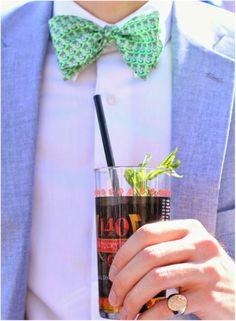 guy in blue blazer and green bow-tie http://www.itgirlweddings.com/blog/5-kentucky-derby-wedding-ideas