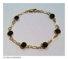 Swarovski crystal Jet  gold filled bracelet by FlyBellaDesigns, $35.00