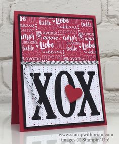 Large Letters Framelits Dies, Sending Love Designer Series Paper Stack, Stampin' Up!, Brian King, PP329, Valentine's Day card
