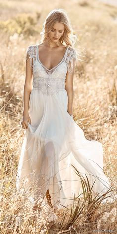 Anna Campbell 2017 bridal cap sleeves scoop neck heavily embellished bodice romantic bohemian empire wedding dress ribbon back sweep train (grace) mv #wedding #bridal #weddingdress