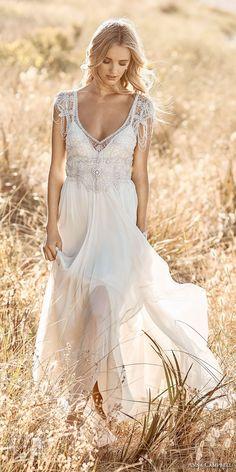 Anna Campbell 2017 bridal cap sleeves scoop neck heavily embellished bodice romantic bohemian empire wedding dress ribbon back sweep train (grace) mv #wedding #bridal #weddingdress