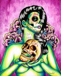 Dia De Los Muertos Pin Up Girl With Sugar Skull - Memories By Carissa 8x10. $7.00, via Etsy.