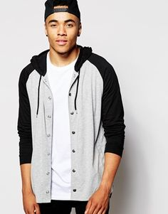 ASOS Longline Long Sleeve T-Shirt With Hood And Stepped Hem