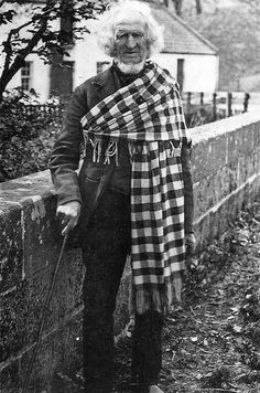 What the half naked shepherd wears in the winter. Old photograph of a shepherd in Scotland
