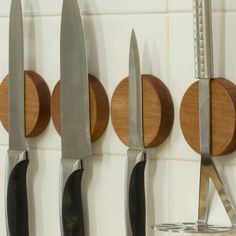 The Knife Disc is a magnetic wall mounted knife and utensil holder handmade from solid Rimu timber with a concealed Rare Earth Magnet that will hold a single knife or utensil. Magnetic Knife Holder, Magnetic Knife Strip, Rare Earth Magnets, Kitchen Store, Utensil Holder, Wall Organization, Kitchen Tiles, Knife Block, As You Like