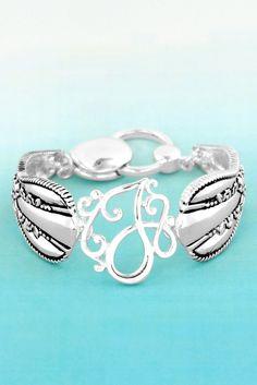 Silvertone 'J' Flourish Initial Spoon Bracelet #AB8120H-AS