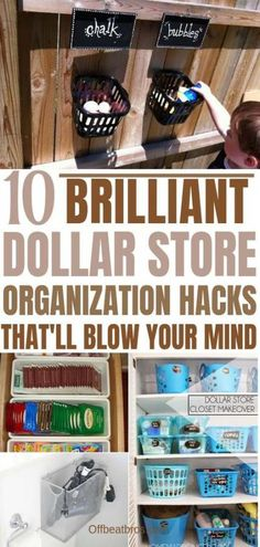 Dollar store is an awesome for home organization on a budget. These brilliant dollar store organization hacks are absolutely amazing to organize your home under a budget. These dollar store hacks are absolutely necessary id Organisation Hacks, Organizing Hacks, Home Organization Hacks, Bedroom Organization, Clutter Organization, Garage Organization, Hacks Diy, Organising, Dollar Store Hacks