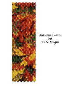 Peyote Bracelet Pattern  Autumn Leaves Buy 2 by KFSDesigns on Etsy, $6.50
